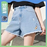 森马牛仔短裤女绣花破洞毛边2021年夏季新款个性时尚复古女裤甜酷