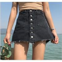 高腰牛仔短裤女夏季修身显瘦单排扣阔腿裤黑色简约复古A字裤裙女