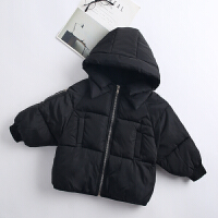 冬季新款加厚儿童羽绒男女童连帽外套宝宝短款面包服中小韩版秋冬新款 黑色 标准码