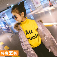 女童卫衣加绒2018新款韩版童装儿童中大童高领套头衫加厚保暖冬装
