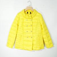 P02069女装秋冬新款双排按扣拉链显瘦好搭配女纯色轻薄短款羽绒服