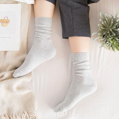 【春夏特价】南极人袜子女纯色透气中筒袜韩国性感百塔袜春季薄款堆堆袜质量第一 正品保证  全场1折起 春季冰点价