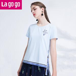 【秒杀价77】Lagogo拉谷谷2019年夏季新款女装百搭圆领印花短袖T恤织带上衣女