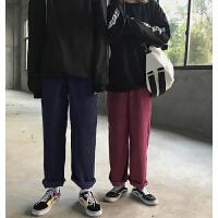 休闲裤女秋冬韩国INS超火街头bf风灯芯绒阔腿裤原宿风男女直筒裤