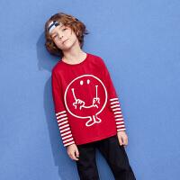 【周年庆3件2折:40】巴拉巴拉旗下巴帝巴帝2019年秋新品男童中大童假两件童趣印花长袖条纹T恤