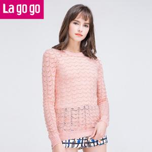 lagogo拉谷谷春秋新款套头纯色甜美针织衫女
