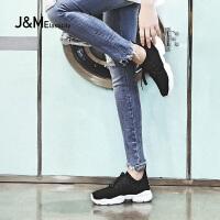 jm快乐玛丽2018春季百搭运动透气网布增高休闲鞋运动鞋女鞋76090W