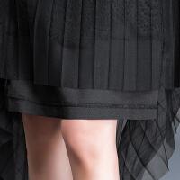蕾丝裙网纱半身裙女百褶裙夏大码高腰黑色字裙纱裙半身长裙子