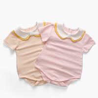 婴儿夏季衣服三角哈衣包屁衣婴幼儿连体衣夏短袖外出抱衣宝宝夏装