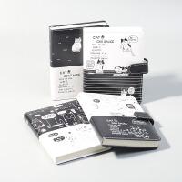 创意韩国文具小清新黑与白猫咪系列手帐本 笔记本日计划月计划本