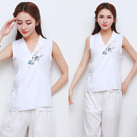 夏季新款女装中国风女式无袖复古民族风手绘棉麻马甲日常汉服上衣 白色