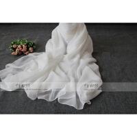 夏季纱巾超大长纯色雪纺丝巾 披肩沙滩巾防晒围巾 纯白丝巾围巾