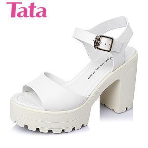Tata/他她夏季专柜同款牛皮时尚水台粗跟女凉鞋2W107BL6
