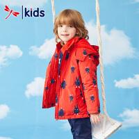 红蜻蜓儿童防风衣男童 中长款可爱趣味卡通冬季出行百搭连帽外套