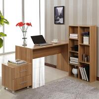 百意空间 简约现代家用台式电脑桌 转角桌 组合书架 书桌带书柜 写字台 办公桌子