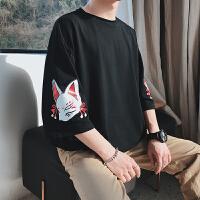 2018春季新款日系妖狐七分袖男T恤短袖原宿潮打底衫小清新文艺bf
