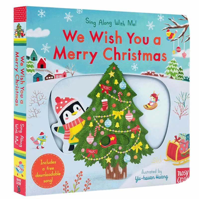 英文原版Sing Along With Me!;We Wish You a Merry Christmas 儿童圣诞节经典歌谣童谣 纸板机关操作书