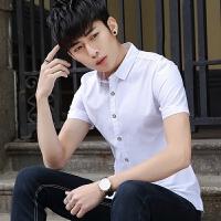 20180626190050239新款2018男士T恤夏季春夏季薄款男士纯色短袖衬衫韩版修身休潮流