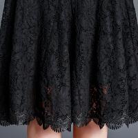2018春季新款黑色蕾丝半身裙中长款高腰大码a字裙半身长裙女