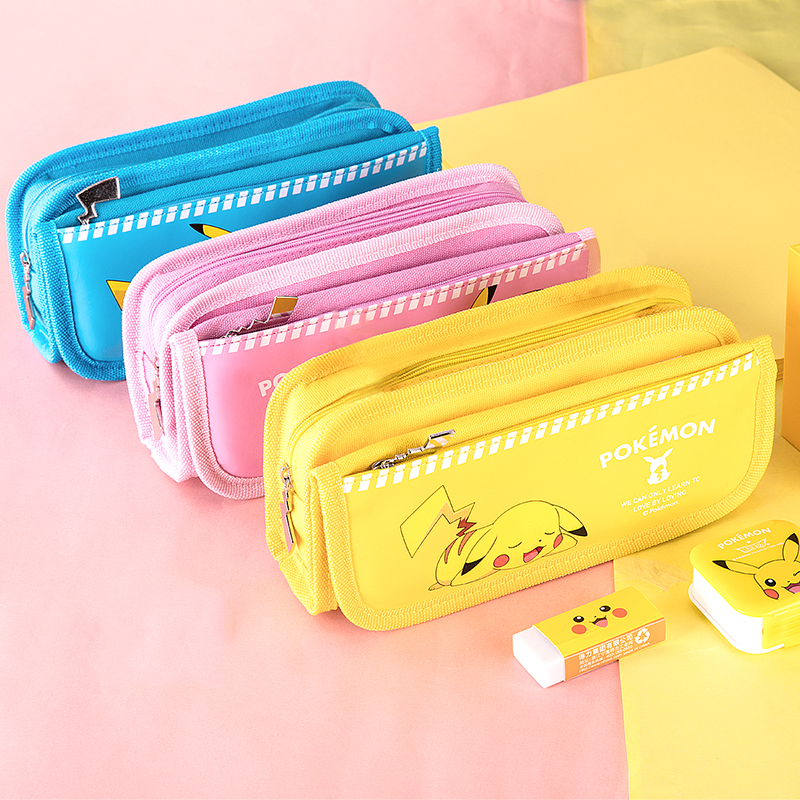 得力66730皮卡丘系列卡通笔袋文具袋大容量拉链袋铅笔盒
