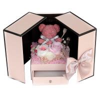 玫瑰花永生花发光永生花礼盒粉色玫瑰花小熊可放项链口红生日礼物六一儿童节礼物情人节送女友 小熊款 礼盒款