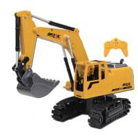 大号合金电动遥控挖掘机 充电挖土机合金工程车模型 玩具钩机男孩 标配 一块原装充电电池