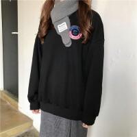 韩国INS同秋冬加绒ulzng字母宽松BF半高领套头卫衣女学生外套