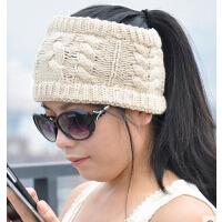 韩版女秋冬天新款保暖黑/米/白色针织空顶帽 潮毛线帽子