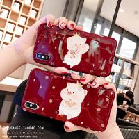 本命年可爱小猪新年苹果X手机壳酒红色iphone xs max全包软壳8plus情侣硅胶保护套