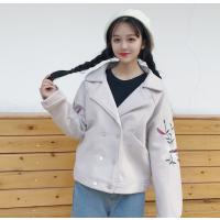 毛呢外套女冬季韩版小清新刺绣花朵短款加厚保暖呢子大衣学生百搭