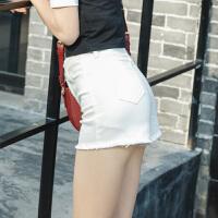 牛仔短裤女2018夏季新款韩版学生黑色高腰修身显瘦百搭毛边热裤潮