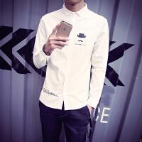 春秋男士长袖衬衣个性印花纯色衬衫 发型师时尚工作服衬衫长袖潮