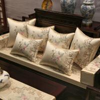 新中式沙发坐垫家具实木沙发垫罗汉床垫子五件套海绵防滑定做 花语阁(白)