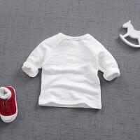 春季新款男女宝宝纯色棉质圆领T恤打底衫婴儿童装