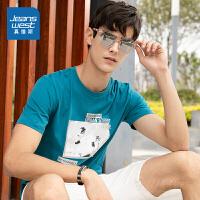 真维斯男装 2020夏季新款 纯棉圆领印花短袖T恤