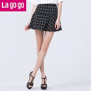 Lagogo/拉谷谷夏季新款伞裙防走光a字黑色网格子半裙女高腰短裙