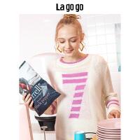Lagogo/拉谷谷2019冬季新款圆领长袖针织衫两件套女HCMM918Y21