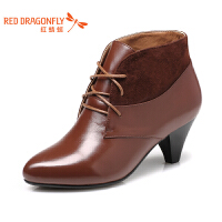 红蜻蜓通勤工作鞋女系带秋季高跟真皮单鞋粗跟尖头女士舒适软皮鞋WNB3511