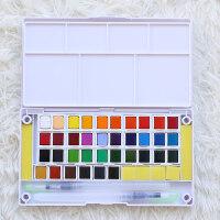 20190408000529383固体水彩颜料套装12 18 24 36 40色水粉画学生手绘便携透明水彩画笔套装分装