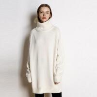 秋冬新款慵懒风羊绒衫女高领中长款宽松加厚大码套头毛衣针织打底