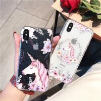 苹果7手机壳iPhone6s透明壳8p镶钻浮雕壳6splus保护套闪粉水钻x个性唯美卡通风格时尚新款夏季潮女防滑防摔六