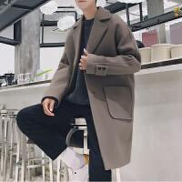 无艺冬季新款学生修身帅气风衣男士韩版中长款毛呢潮流厚大衣
