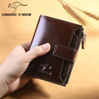 男士短款钱包头层牛皮拉链复古钱夹皮夹卡包