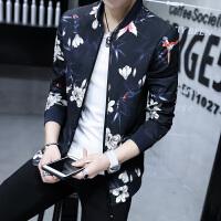 港风潮流时尚印花日系男士夹克外套青年个性立领夹克衫男上衣