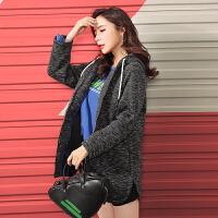 【2折到手价139元】拉夏贝尔7m新款韩版运动潮酷连帽卫衣开叉宽松中长外套女