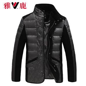 雅鹿羽绒服男短款 韩版修身菱形行线相拼保暖纯色外套冬装YO39200