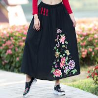 秋装新款 中国风绣花裙半身裙长裙 民族风刺绣中长款半身裙女