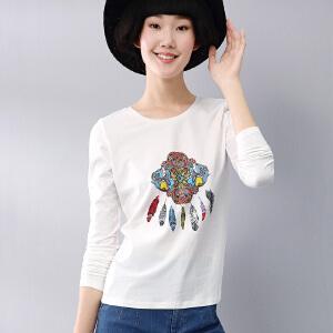 熙世界2018春装 时尚印花长袖t恤女 打底衫上衣女装191LT077