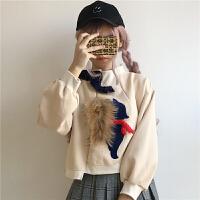 秋冬韩版女装拼色宽松短款上衣百搭长袖加厚学生套头卫衣女外套