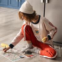 睡衣女秋纯棉长袖薄款可爱韩版清新学生可外穿家居服两件套装春夏 A6801